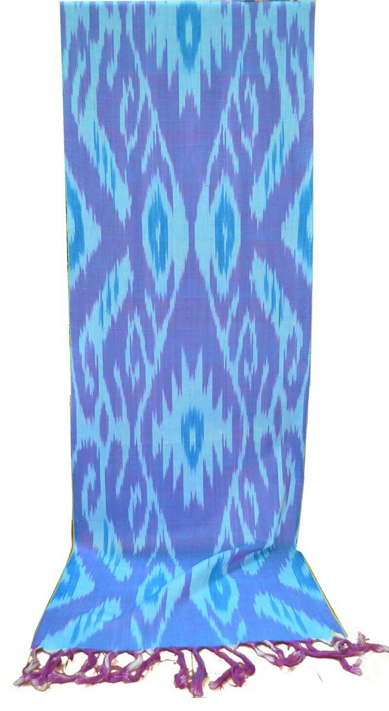 Light blue and magenta pure cotton ikat scarf