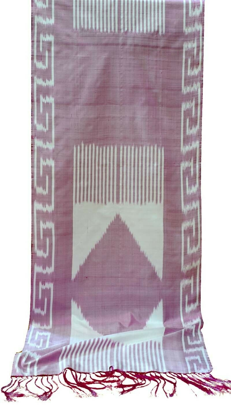 Ikat pink and white silk scarf