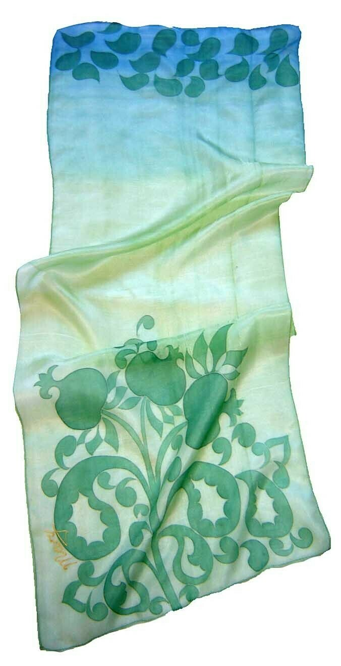 """Pomegranates"" green silk batik scarf"