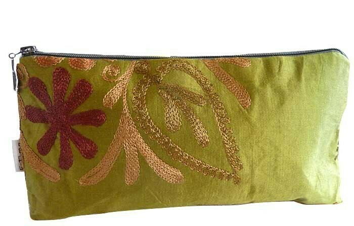 Embroidered silk ikat clutch