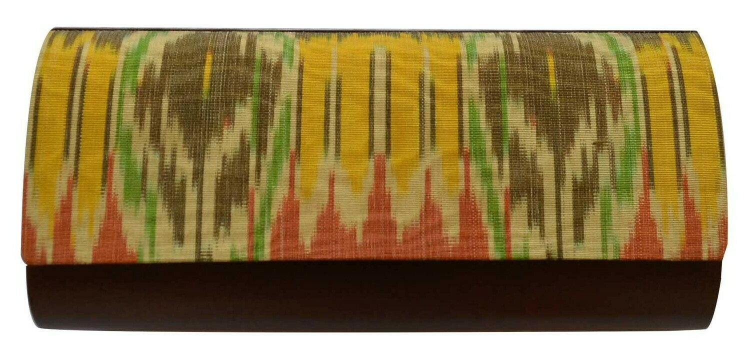Yellow brown ikat clutch with an over a shoulder chain