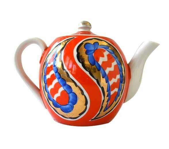 """""""Golden paisley"""" porcelain teapot"""