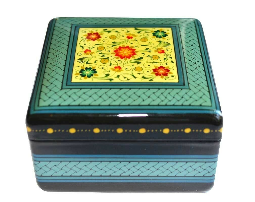 Blue square hand painted jewelry box