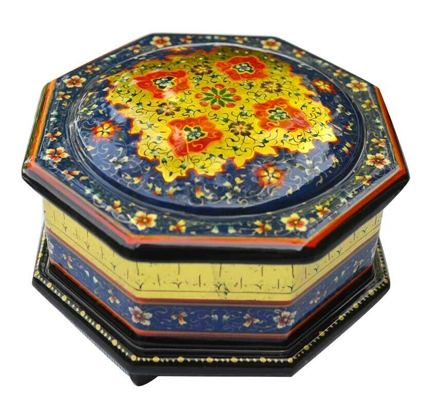 Blue dome hand painted jewelry box