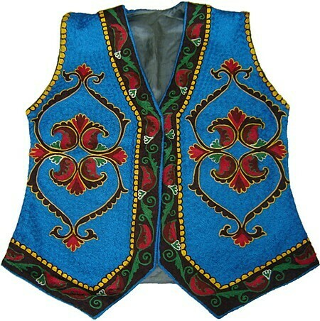 Blue lady's embroidered vest