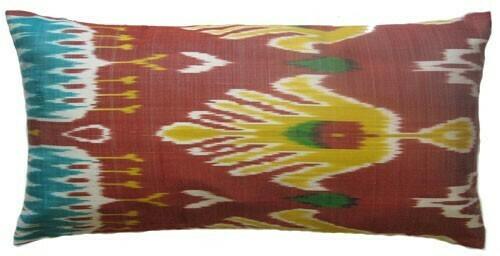 """""""Ikat the Flourishing"""" lumbar ikat pillow cover"""
