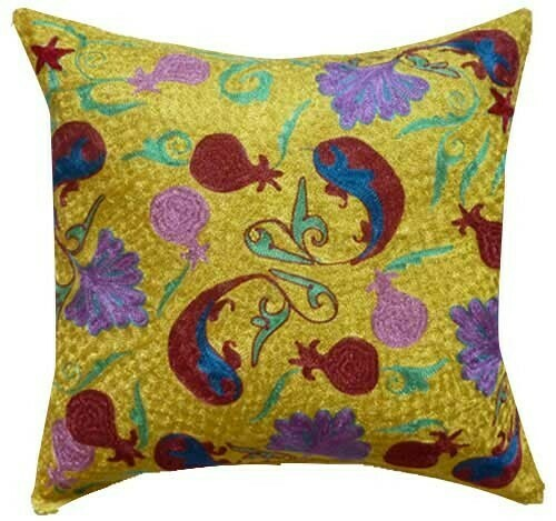 Mustard yellow suzani embroidered pillow cover