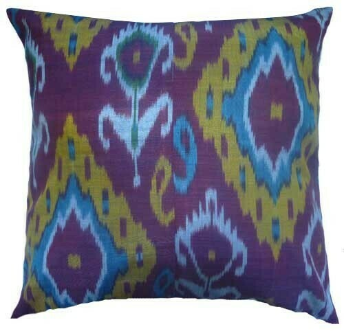 """""""Ikat the mysterious"""" euro size ikat pillow cover"""