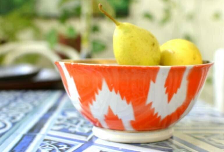 Orange ikat bowl