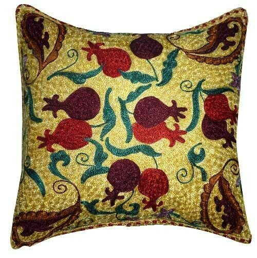 Yellow pomegranates suzani embroidered pillow cover