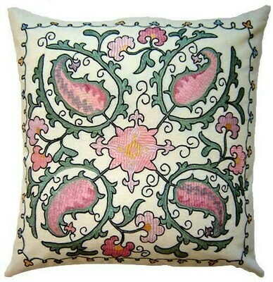 Suzani pink floral hand embroidered pillow cover