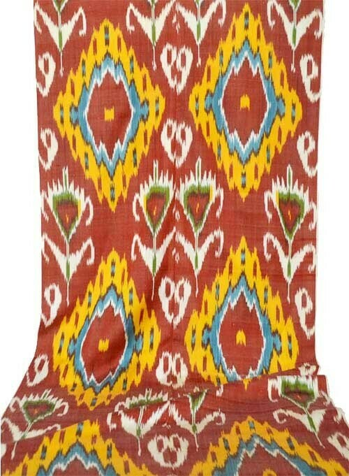 """""""Flowers on passionate red"""" wide ikat fabric"""