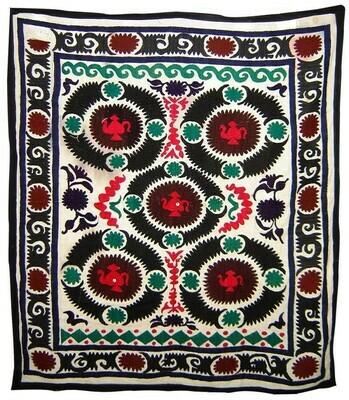 Village style hand embroidered suzani (Urgut)