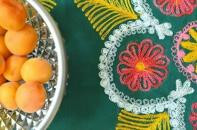 Green embroidered suzani tablecloth