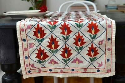 Red floral suzani table runner