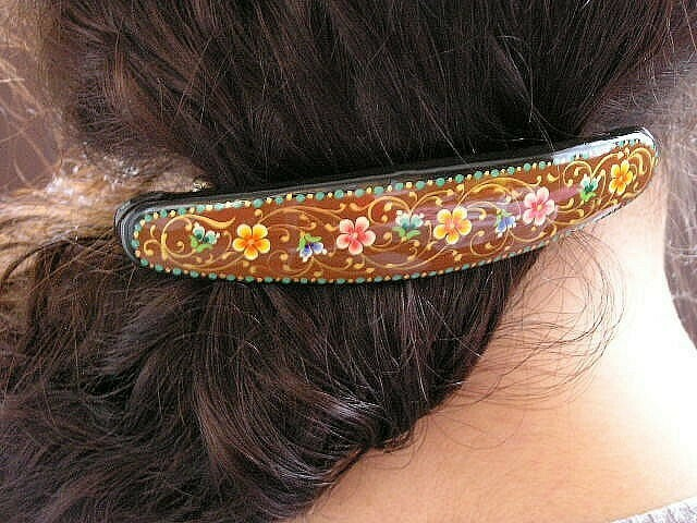 """""""Dazzling..."""" hand painted barrette"""