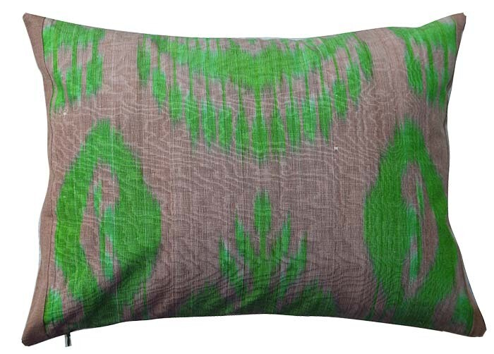 """Bodom"" brown and green boudoir ikat pillow cover"