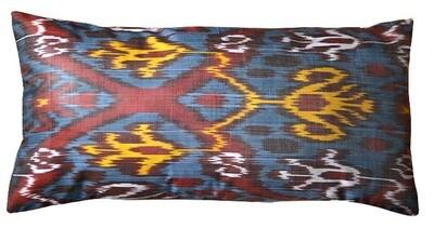 Blue lumbar ikat pillow cover