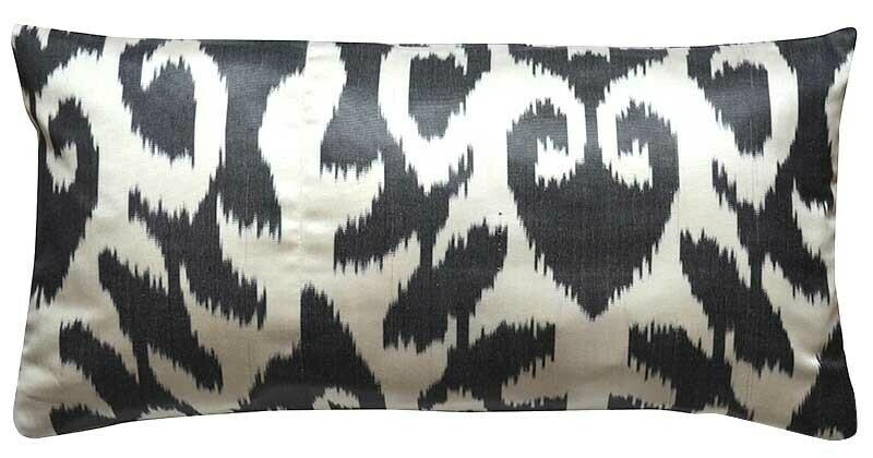 Black and white lumbar ikat pillow cover
