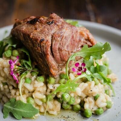 Sweet Pea Risotto with Roasted Pork Shoulder | April 16th & 17th | Serves 4