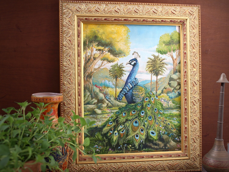 Peacock in Vrindavana - Original Oil Painting