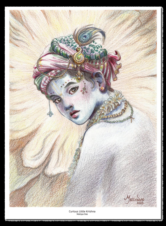 Curious Little Krishna - Standard Print
