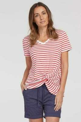 Tribal Short Sleeve V-Neck Top With Knot