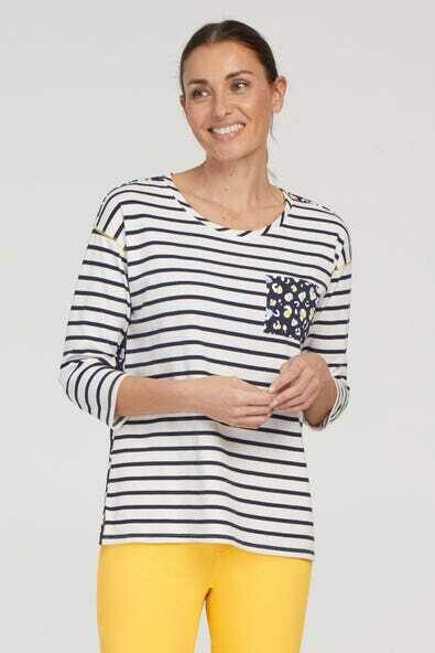 Tribal 3/4 Sleeve Combo Top With Pocket