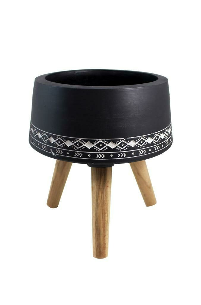 Black and White Motif Design Pot with Legs