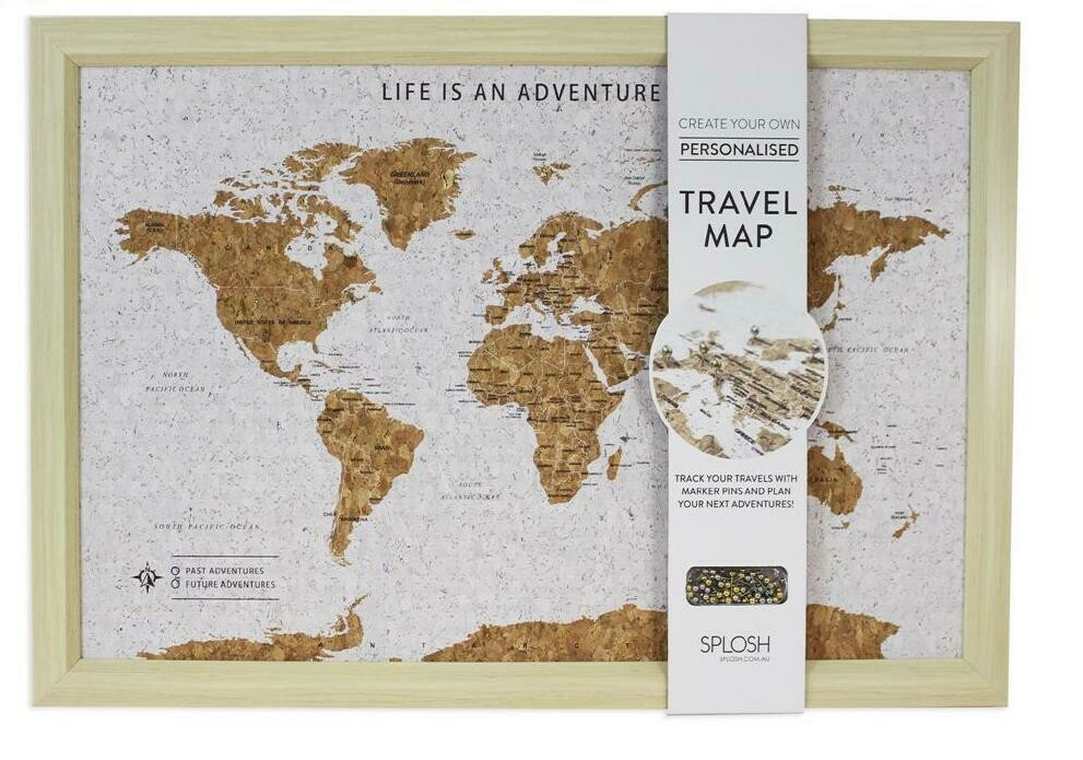 Framed Cork World Map with Pins