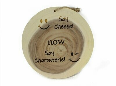 Charcuterie Board Round Say Cheese