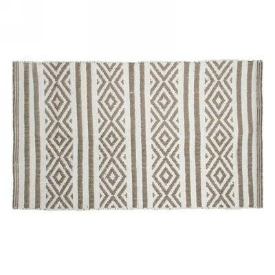 Rug Taupe And White With Fringe