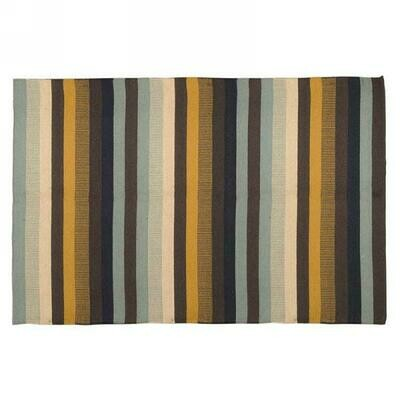 Rug Multi Stripe Blue and Yellow