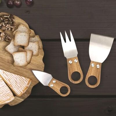 Natural Living Acacia Cheese Knife Set 3