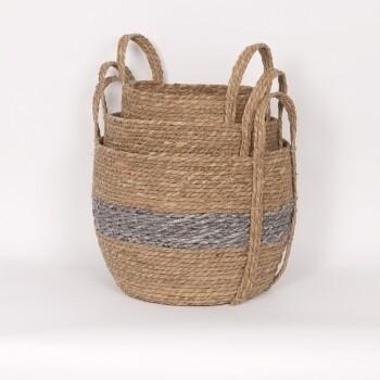 Blue/Natural Straw Basket