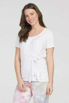 Tribal Short Sleeve Top With Front Tie