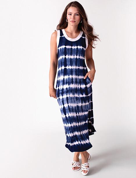 Tribal Sleeveless Tie-Dye Long Dress