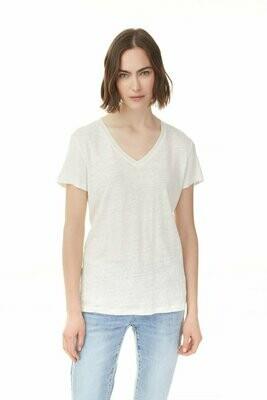Charlie B Short Sleeve V-Neck Linen Top