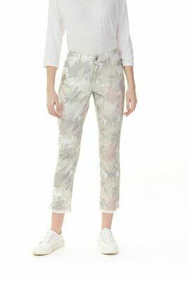 Charlie B Printed Pearl Pink Jeans with Fray Hem