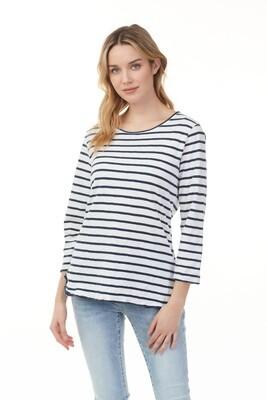 Charlie B Stripe Cotton Long Sleeve Top