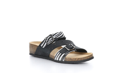 Bos & Co. Liberty Nubuck/Zebra Faux Fur Sandal
