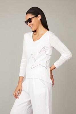 Pistache Cotton Top With Star Applique