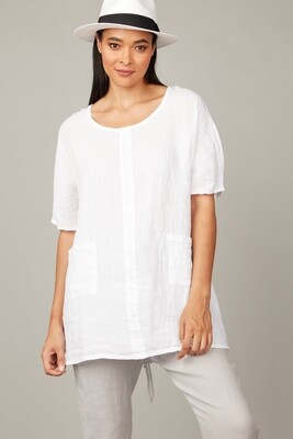 Pistache Linen Tunic with Patch Pockets