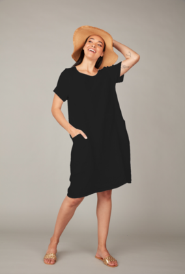 Pistache Linen Dress With Cotton Ribbed Sides