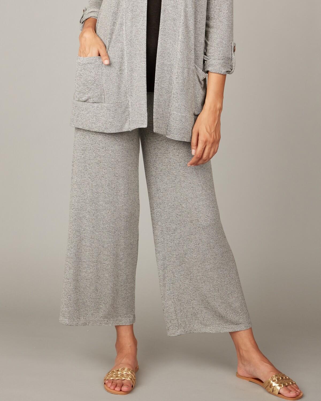 Pistache Melange Viscose Knit Cropped Pant