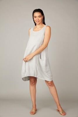 Pistache Linen Bubble Dress with Elastic Bottom