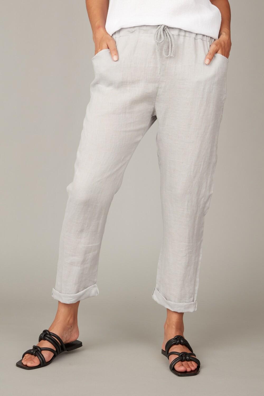 Pistache Straight Leg Drawstring Linen Pant