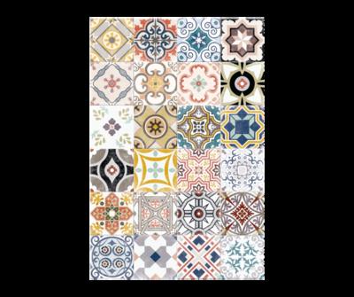 Rectangle Vinyl Floor Mat Ceramics 033390 Antique
