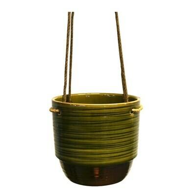 Nostalgia Suspended Pot Striped Green 17.5 x 17.5