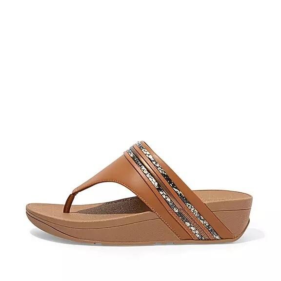 Fitflop Olive Snake Trim Toe-Post Sandals